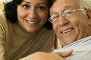 Elderly Home Care Dementia Cargiver Older Man Smiling
