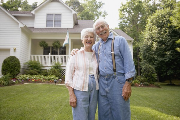 Elderly Senior Home Care Laughing Couple Front Yard