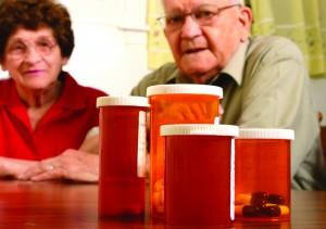Elderly Senior Home Care Couple Vials