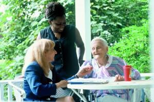 Elderly Senior Home Care Three People Porch