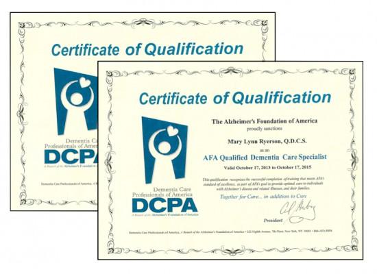 Dementia Care Certificates